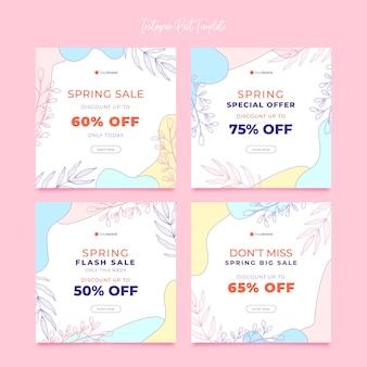 Belle collection de publications instagram de vente de printemps