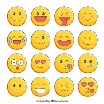 Belle collection de smileys dessinés à la main