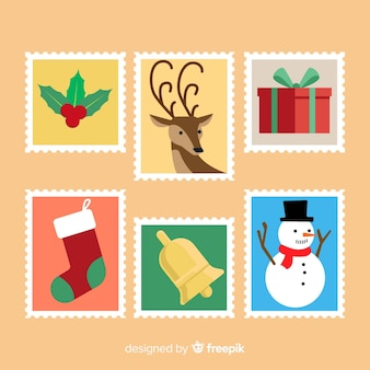 Belle collection de timbres de noël avec design plat