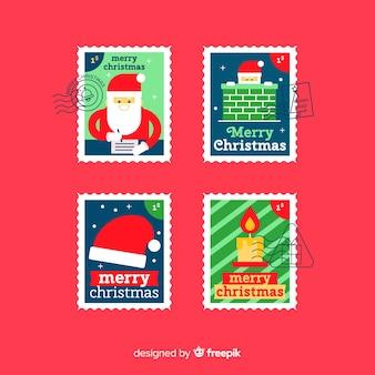 Belle collection de timbres de noël avec design plat