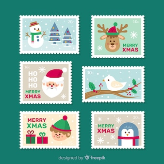 Belle collection de timbres de noël