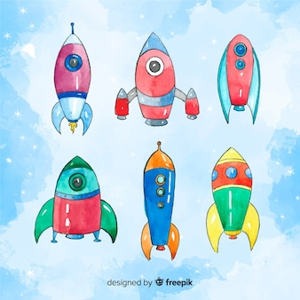 Belle collection de vaisseaux spatiaux aquarelle