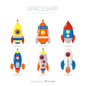 Belle collection de vaisseaux spatiaux avec un design plat