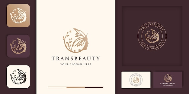 Belle combinaison de visage de femme avec le logo de papillon, transformation de beauté