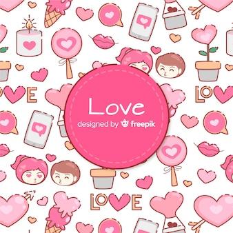 Belle composition d'amour dessiné à la main