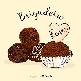 Belle composition de brigadeiro dessinée à la main