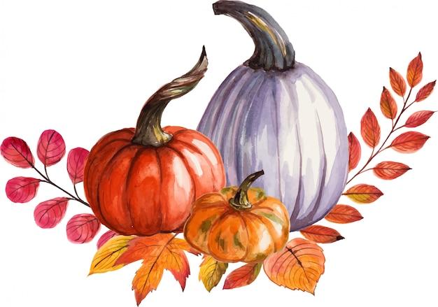 Belle composition avec citrouilles et feuilles d'automne. illustration aquarelle peinte à la main.