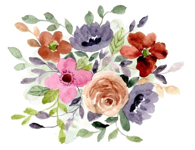 Belle composition florale à l'aquarelle