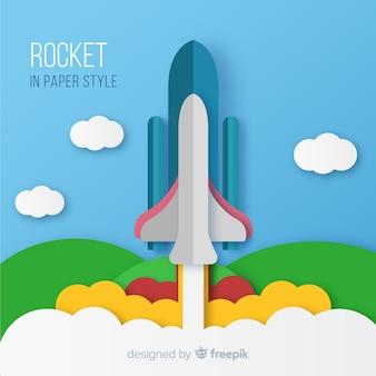 Belle composition de fusée spatiale avec un style origami