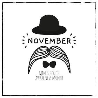 Belle composition de movember dessinée à la main