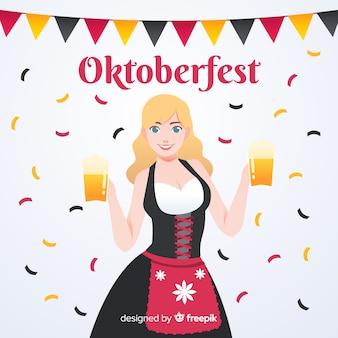 Belle composition oktoberfest avec un design plat