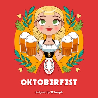 Belle composition de oktoberfest dessiné à la main