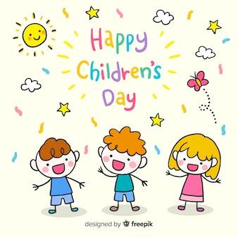 Belle composition pour le jour des enfants dessinés à la main