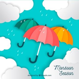 Belle composition de la saison de la mousson avec un design plat