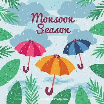 Belle composition de saison de mousson dessinés à la main