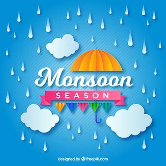 Belle composition de la saison de la mousson avec le style orgami