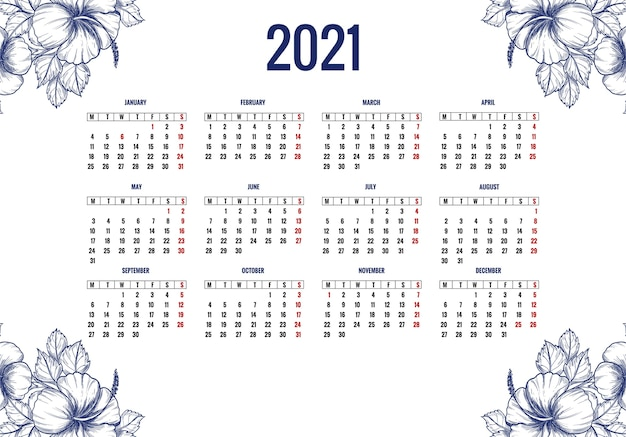 Belle conception de calendrier floral 2021