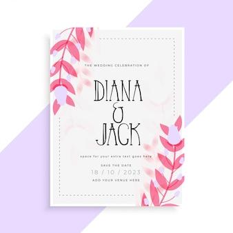 Belle conception de carte d'invitation de mariage feuilles rose