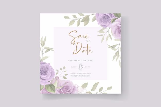 Belle conception de carte d'invitation de mariage floral et feuilles douces