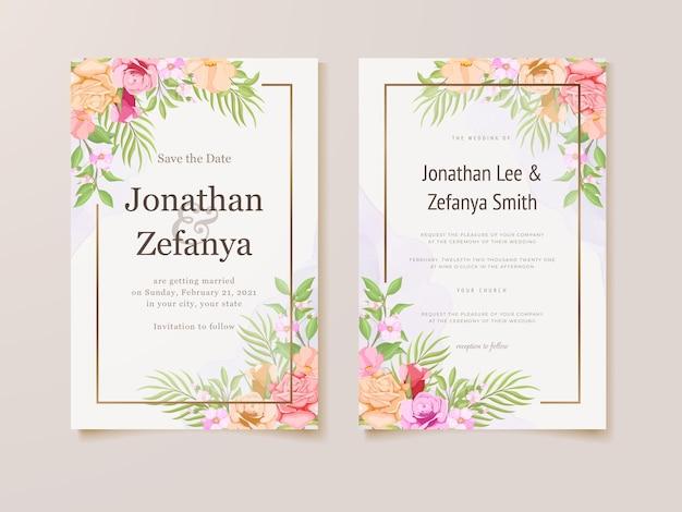 Belle conception de carte d'invitation de mariage floral