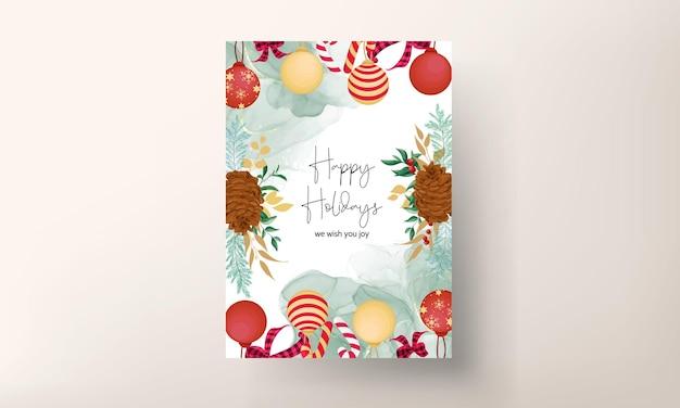 Belle conception de carte de joyeux noël floral dessin à la main