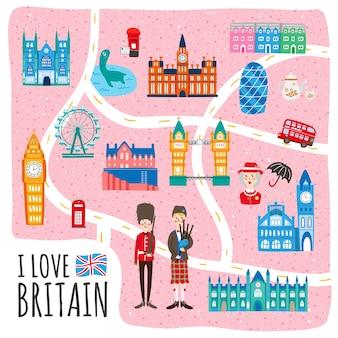 Belle conception de carte de marche du royaume-uni avec des attractions