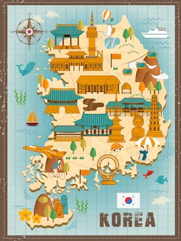 Belle conception de carte de voyage en corée du sud dans un style plat