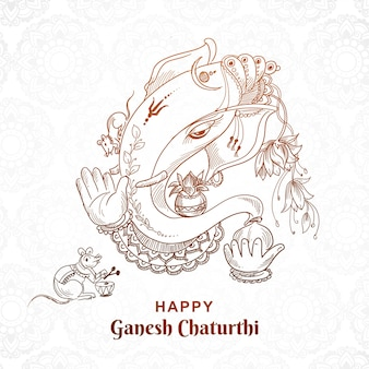 Belle conception de cartes art croquis ganesh chaturthi