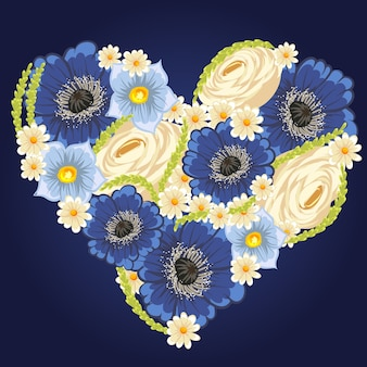 Belle conception de coeur floral. illustration vectorielle