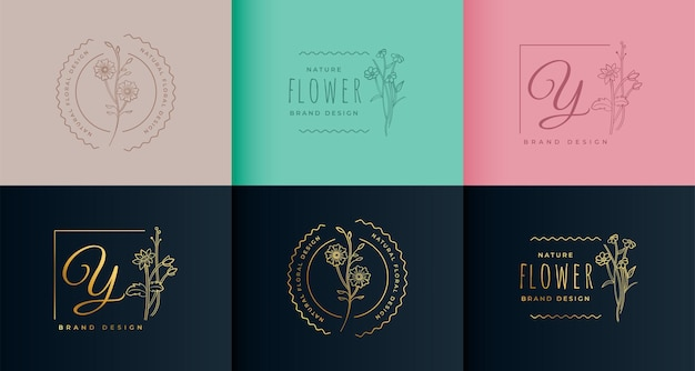 Belle conception de collection de logo fleur monogramme
