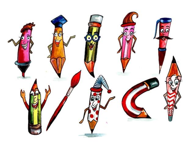 Belle conception créative de jeu de crayons drôles