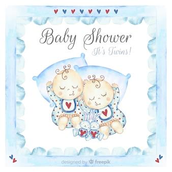 Belle conception de douche de bébé aquarelle