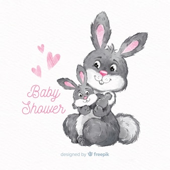 Belle conception de douche de bébé aquarelle