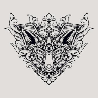 Belle conception faite à la main ornement de gravure de renard