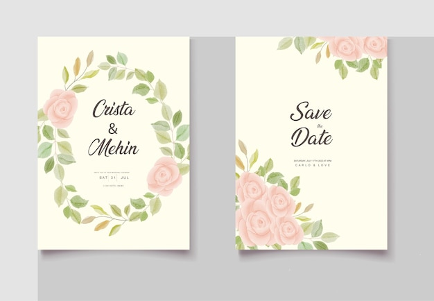 Belle conception florale d'invitation de mariage de dessin de main