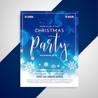 Belle conception de flyer de noël brillant bleu avec des flocons de neige