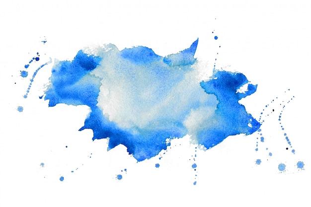Belle conception de fond de texture de tache aquarelle bleue
