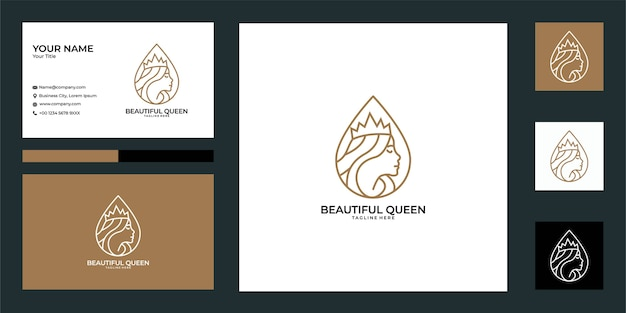 Belle conception de logo de reine et carte de visite