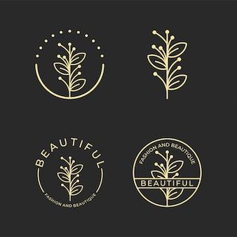 Belle conception de logo de style art ligne feuille, peut être utilisée pour salon de beauté, spa, yoga, mode