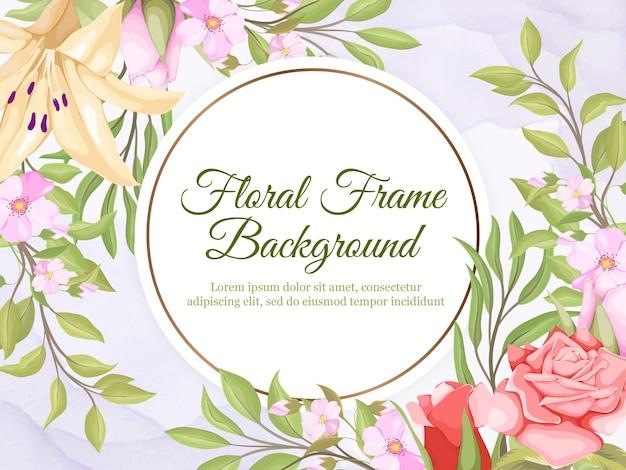 Belle conception de modèle de fond de bannière de mariage floral