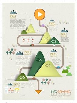 Belle conception de modèle d'infographie de concept d'écologie dans le style d'origami