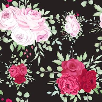 Belle conception de modèle sans couture de cadre floral rouge et rose