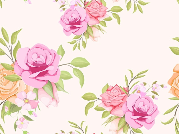 Belle conception de modèle sans couture floral avec des roses et des feuilles