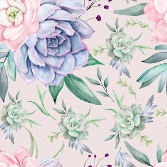 Belle conception de modèle sans couture florale aquarelle