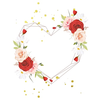 Belle couronne de fleurs avec des roses aquarelles roses et rouges