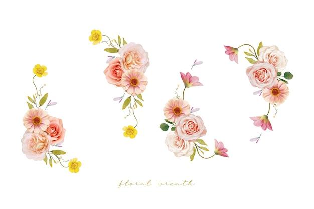 Belle couronne de fleurs avec des roses aquarelles et zinnia