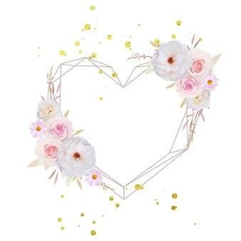 Belle couronne de fleurs avec des roses aquarelles