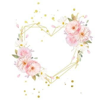 Belle couronne de fleurs avec des roses roses aquarelles et dahlia