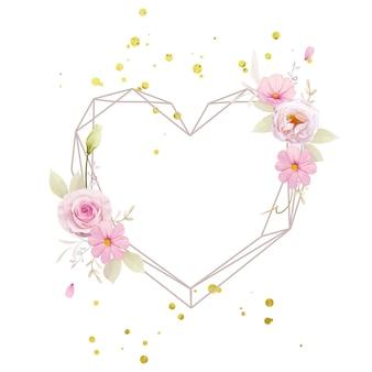 Belle couronne de fleurs avec des roses roses aquarelles