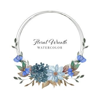 Belle couronne florale aquarelle bleu indigo